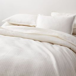 Pure Linen Pinstripe Warm White Duvet Covers and Pillow Shams | Crate and Barrel | Crate & Barrel