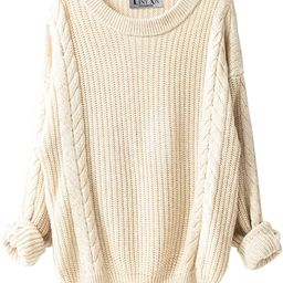Women's Cashmere Oversized Loose Knitted Crew Neck Long Sleeve Winter Warm Wool Pullover Long Swe... | Amazon (US)