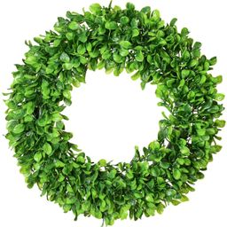 """Lvydec Artificial Green Leaves Wreath - 20"""" Large Boxwood Wreath for Front Door Wall Window Farmh...   Amazon (US)"""