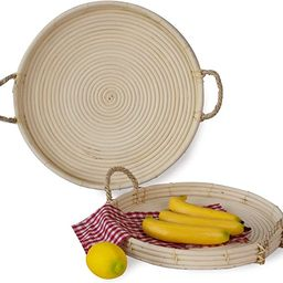 Set of 2 Round Wicker Serving Trays and Coffee Trays with Rope Handles   Hand Woven Serving and R...   Amazon (US)