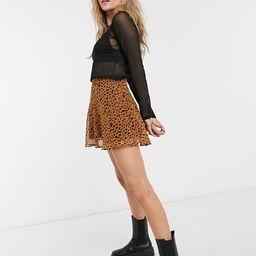 Bershka mini animal print skater skirt in brown   ASOS (Global)