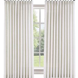 """ChadMade 50"""" W x 96"""" L Polyester Linen Drapes with Blackout Thermal Lining Pinch Pleat Curtain fo... 