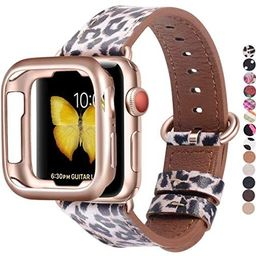 JSGJMY Compatible with Apple Watch Band 38mm 40mm with Case,Women Genuine Leather with Rose Gold ...   Amazon (US)