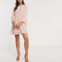 ASOS DESIGN long sleeve smock mini dress in blush | ASOS (Global)