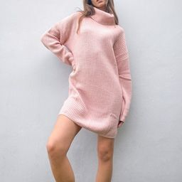 In The Style x Billie Faiers oversized roll neck knitted sweater dress in pink | ASOS (Global)