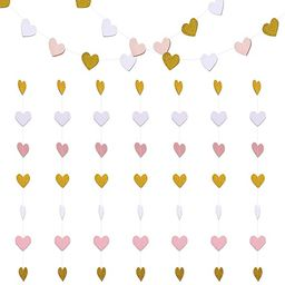 Paper Heart Garlands Heart Hanging Banner Bunting 2 Pack for Wedding Birthday Party Backdrop Deco...   Amazon (CA)