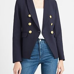 Soft & Sleek Double Breasted Novelty Button Cropped Business Blazer Women's Navy Blue   Express