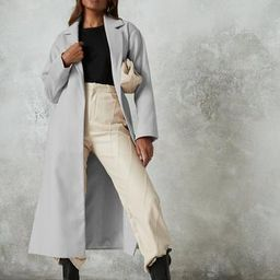 Gray Side Side Split Formal Midaxi Coat   Missguided (US & CA)