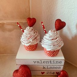 2 Faux Valentines Day Red Heart Cupcakes/ Rae Dunn/Tiered | Etsy | Etsy (US)