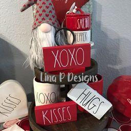 Mini tiered tray signs/ wooden valentine xoxo kisses pairs | Etsy | Etsy (US)