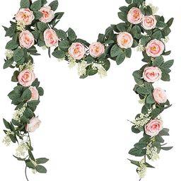 U'Artlines 2PCS(Total 13Ft) Artificial Rose Vine Garland Hanging Fake Rose Ivy Silk Flowers Green...   Amazon (CA)