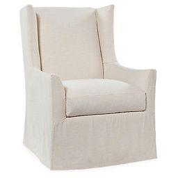 Lili Swivel Chair, Ivory   One Kings Lane