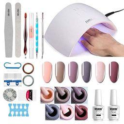 Gel Nail Polish Starter Kit - 6 Colors Gel Polish Set Base Top Coat, 36W LED Nail Dryer Lamp with... | Amazon (US)
