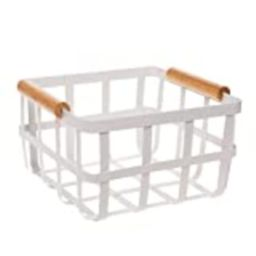 Simplify Square White Metal Storage Basket with Bamboo Handles, Farmhouse Style, Home Organizer, Dec | Amazon (US)