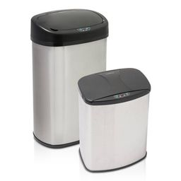 Brushed Stainless Steel Motion Activated Touch-Free Sensor Trashcan Set, 2-Pack, 13 Gal and 4 Gal | Walmart (US)