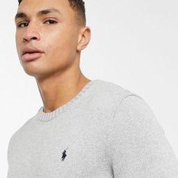 Polo Ralph Lauren player logo cotton knit jumper in grey marl | ASOS (Global)