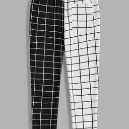 SHEIN Men Drawstring Waist Spliced Plaid Trousers         SKU: smpants07200407432                ...   SHEIN