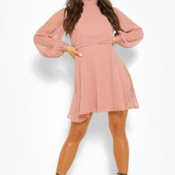 Dobby Mesh High Neck Pleat Detail Skater Dress | Boohoo.com (US & CA)