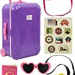 """Click N' Play 18"""" Doll Travel Carry On Suitcase Luggage 7Piece Set with Travel Gear Accessories, Per 
