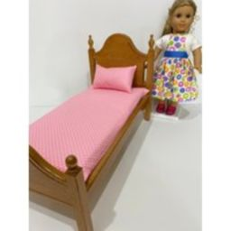 """American Girl Doll Mattress & Pillow Set For 18"""""""" Dolls, Pink White Polka Dot. Shipping Included 