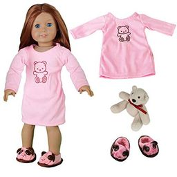 Doll Clothes for American Girl Dolls: 3 Piece Night Gown Outift with Teddy Bear - Dress Along Dolly  | Walmart (US)
