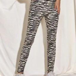 Elastic Waist Zebra Stripe Leggings   SHEIN