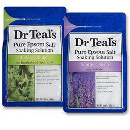 Dr Teal's Epsom Salt Bath Soaking Solution, Eucalyptus and Lavender, 2 Count, 3lb Bags - 6lbs Tot... | Amazon (US)