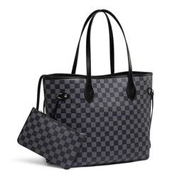 Daisy Rose Checkered Tote Shoulder Bag with inner pouch - PU Vegan Leather (Black)   Walmart (US)