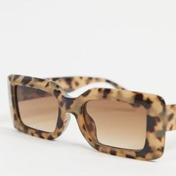 ASOS DESIGN recycled frame mid square sunglasses with bevel in milky tort | ASOS (Global)