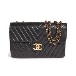 What Goes Around Comes Around Chanel Black Lambskin Chevron Flap Maxi Bag | Shopbop