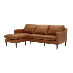 """Benning 86"""" Wide Genuine Leather Reversible Sofa & Chaise with Ottoman   Wayfair North America"""