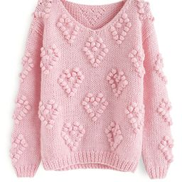 Knit Your Love V-Neck Sweater in Pink | Chicwish