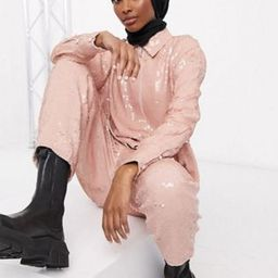 ASOS EDITION sequin shirt & jogger co-ord in pink | ASOS (Global)