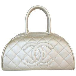 Chanel Metallic Quilted Caviar Bowler Bag   1stDibs