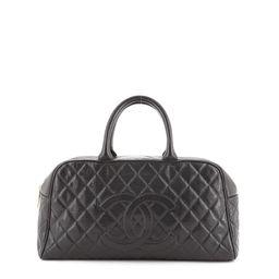 Timeless CC Bowler Bag Quilted Caviar Large   Rebag