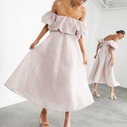 ASOS EDITION puff off shoulder midi dress in blush | ASOS (Global)