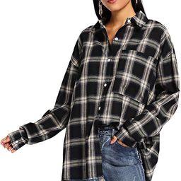 Women's Long Sleeve Collar Long Button Down Plaid Shirt Blouse Tops | Amazon (US)