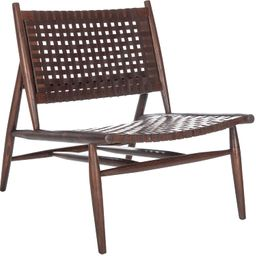 Safavieh Home Soleil Brown and Brown Leather Woven Accent Chair | Amazon (US)