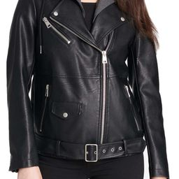 Oversized Faux Leather Motorcycle Jacket with Fleece Hood   Nordstrom