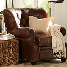 Lansing Tufted Leather Recliner with Nailheads | Pottery Barn (US)