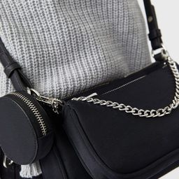 Stradivarius 3 piece cross body bag with chain detail in black | ASOS (Global)
