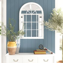 Swainsboro Arched Windowpane Distressed Accent Mirror | Wayfair North America