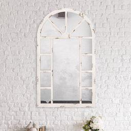 Blaisdel Distressed Arch Windowpane Wall Accent Mirror | Wayfair North America