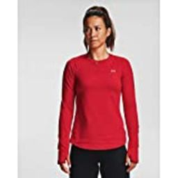 Under Armour Women's ColdGear Armour Compression Crew Long Sleeve T-Shirt , Red (600)/Metallic Silve | Amazon (US)
