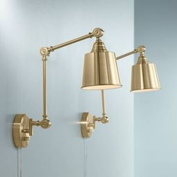 360 Lighting Modern Swing Arm Wall Lamps Set of 2 Antique Brass Plug-In Light Fixture Adjustable ... | Target