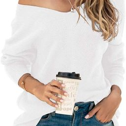 Women's Batwing Sleeve Dolman Ribbed Knit Sweaters Oversized V-Neck Pullover Tops   Amazon (US)