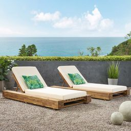 Lawrence Outdoor Reclining Chaise Lounge with Cushion (Set of 2) | Wayfair North America