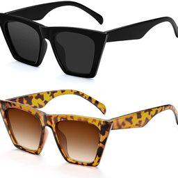 Cat Eye Sunglasses For Women - Vintage Square Mirrored Sunglasses for Women Fashion Classic UV400... | Amazon (US)