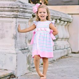 Bunny Silhouette Smocked Beverly Dress Plaid   Smocked Auctions