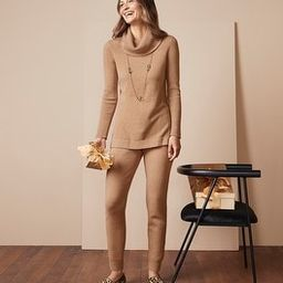 Cotton-Cashmere Blend Ribbed Cowl-Neck Tunic | Chico's